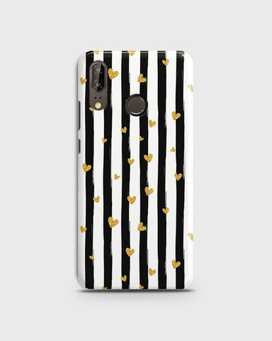 Trendy Black & White Strips With Golden Hearts Hard Case For Huawei P20