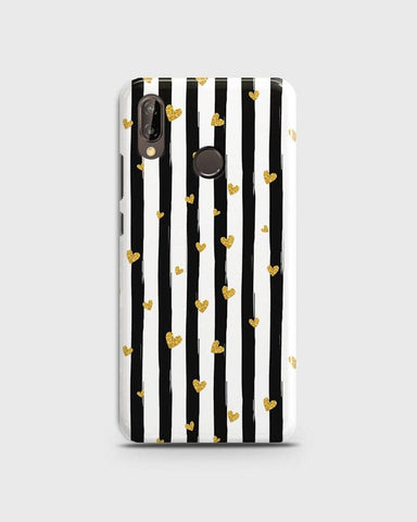 Huawei P20 Lite - Trendy Black & White Strips With Golden Hearts Printed Hard Case With Life Time Colors Guarantee