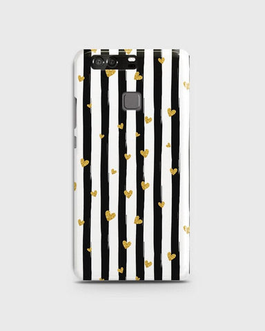 Trendy Black & White Strips With Golden Hearts Hard Case For Huawei P9
