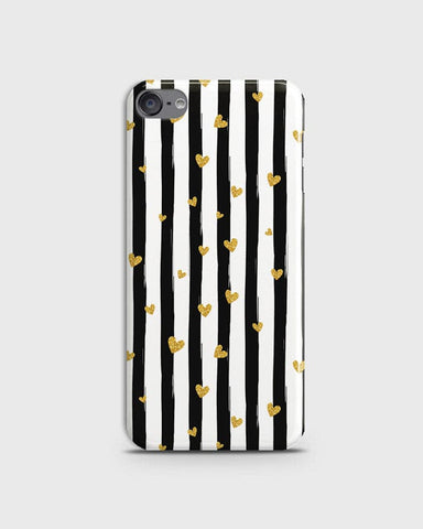 Trendy Black & White Strips With Golden Hearts Hard Case For iPod Touch 6
