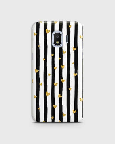 Trendy Black & White Strips With Golden Hearts Hard Case For Samsung Galaxy J2 Pro 2018