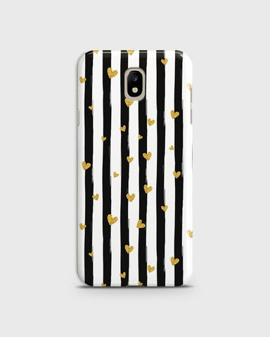Trendy Black & White Strips With Golden Hearts Hard Case For Samsung Galaxy J3 Pro