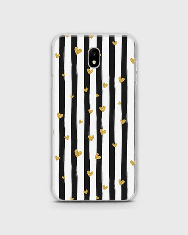Samsung Galaxy J320 / J3 2016 - Trendy Black & White Strips With Golden Hearts Printed Hard Case With Life Time Colors Guarantee