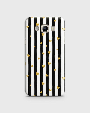 Trendy Black & White Strips With Golden Hearts Hard Case For Samsung Galaxy J510