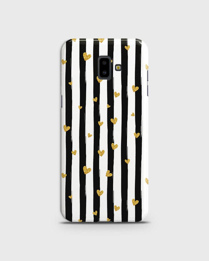 new products e7adf 7467d Trendy Black & White Strips With Golden Hearts Hard Case For Samsung J6  Plus 2018