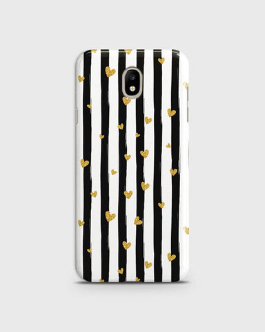 Trendy Black & White Strips With Golden Hearts Hard Case For Samsung Galaxy J7 2018