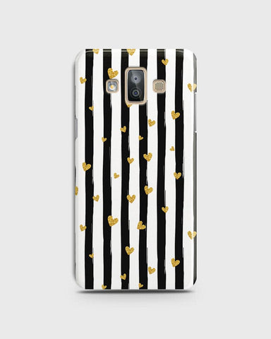 Trendy Black & White Strips With Golden Hearts Hard Case For Samsung Galaxy J7 Duo