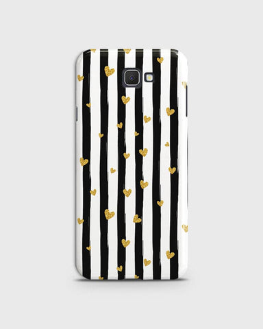 Trendy Black & White Strips With Golden Hearts Hard Case For Samsung Galaxy J7 Prime