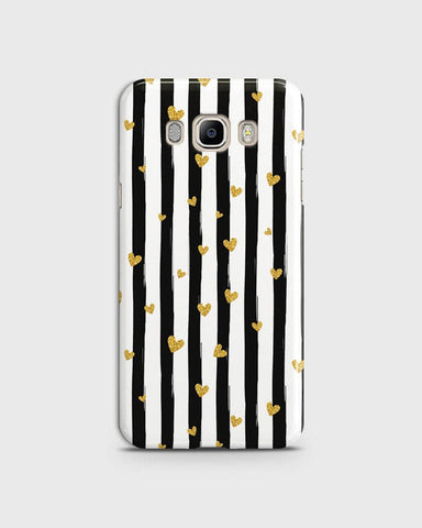 Trendy Black & White Strips With Golden Hearts Hard Case For Samsung Galaxy J710