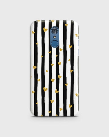 LG Q7 - Trendy Black & White Strips With Golden Hearts Printed Hard Case With Life Time Colors Guarantee