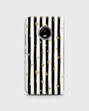 Trendy Black & White Strips With Golden Hearts Hard Case For Motorola E4 Plus