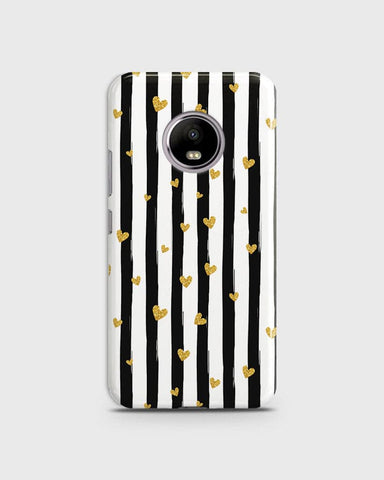 Motorola E4 Plus  - Trendy Black & White Strips With Golden Hearts Printed Hard Case With Life Time Colors Guarantee