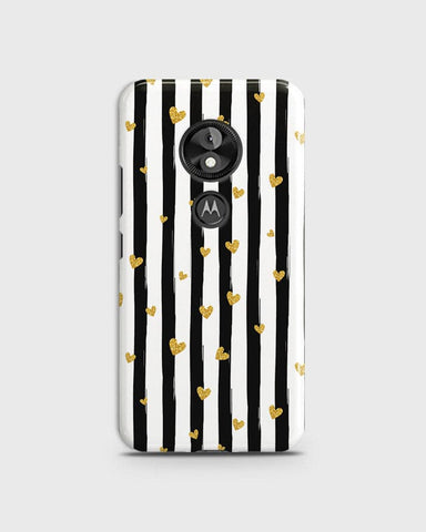Trendy Black & White Strips With Golden Hearts Hard Case For Motorola E5 Plus