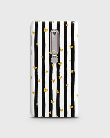 Nokia 6.1  - Trendy Black & White Strips With Golden Hearts Printed Hard Case With Life Time Colors Guarantee