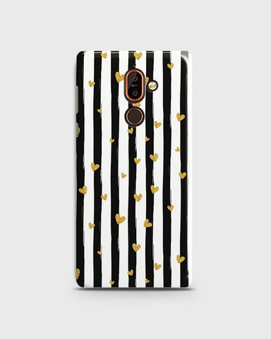 Trendy Black & White Strips With Golden Hearts Hard Case For Nokia 7 Plus