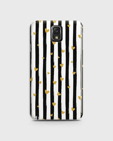 Trendy Black & White Strips With Golden Hearts Hard Case For Samsung Galaxy Note 3