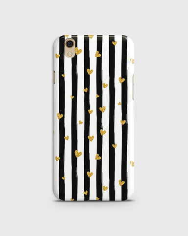 Oppo F1 Plus / R9 - Trendy Black & White Strips With Golden Hearts Printed Hard Case With Life Time Colors Guarantee