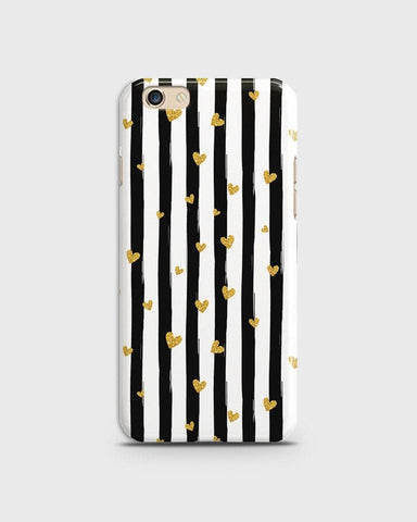 Trendy Black & White Strips With Golden Hearts Hard Case For Oppo F1S