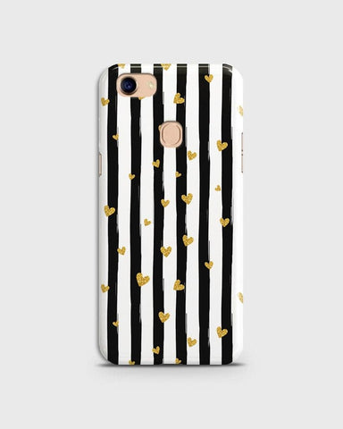 Trendy Black & White Strips With Golden Hearts Hard Case For Oppo F5 / F5 Youth