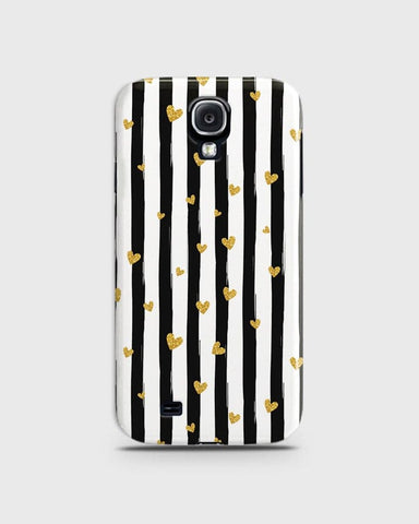 Trendy Black & White Strips With Golden Hearts Hard Case For Samsung Galaxy S4