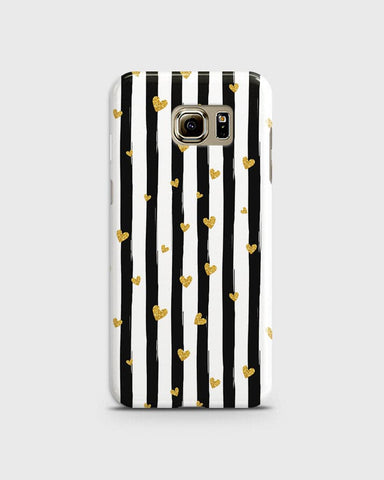 Trendy Black & White Strips With Golden Hearts Hard Case For Samsung Galaxy S6