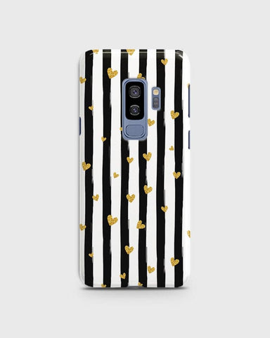 Samsung Galaxy S9 Plus - Trendy Black & White Strips With Golden Hearts Printed Hard Case With Life Time Colors Guarantee