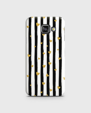 Samsung Galaxy A710 (A7 2016) - Trendy Black & White Strips With Golden Hearts Printed Hard Case With Life Time Colors Guarantee