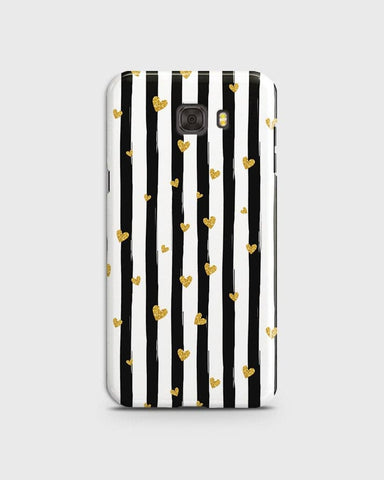 Samsung C9 Pro - Trendy Black & White Strips With Golden Hearts Printed Hard Case With Life Time Colors Guarantee