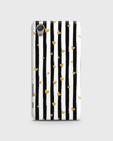 Trendy Black & White Strips With Golden Hearts Hard Case For Sony Xperia XA