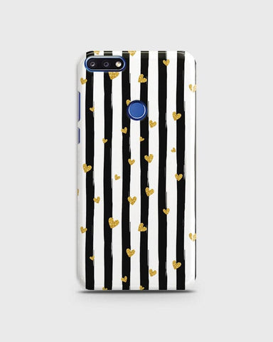 Trendy Black & White Strips With Golden Hearts Hard Case For Huawei Y7 Prime 2018