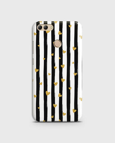 Trendy Black & White Strips With Golden Hearts Hard Case For Huawei Y9 2018