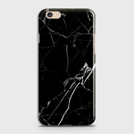 Oppo F3 Plus - Black Modern Classic Marble Printed Hard Case