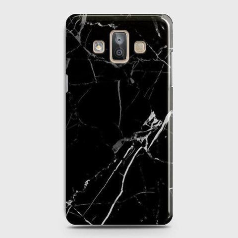 Samsung Galaxy J7 Duo - Black Modern Classic Marble Printed Hard Case