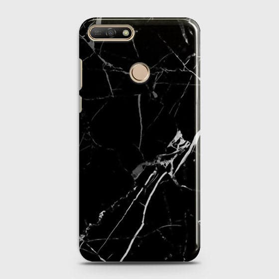 Black Modern Classic Marble Case For Huawei Y7 2018