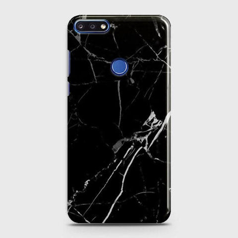 Black Modern Classic Marble Case For Huawei Y7 Prime 2018