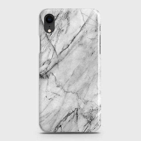 iPhone XR - Trendy White Marble Printed Hard Case With Life Time Colors Guarantee