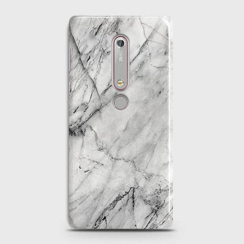 Nokia 6.1 - Trendy White Marble Printed Hard Case With Life Time Colors Guarantee