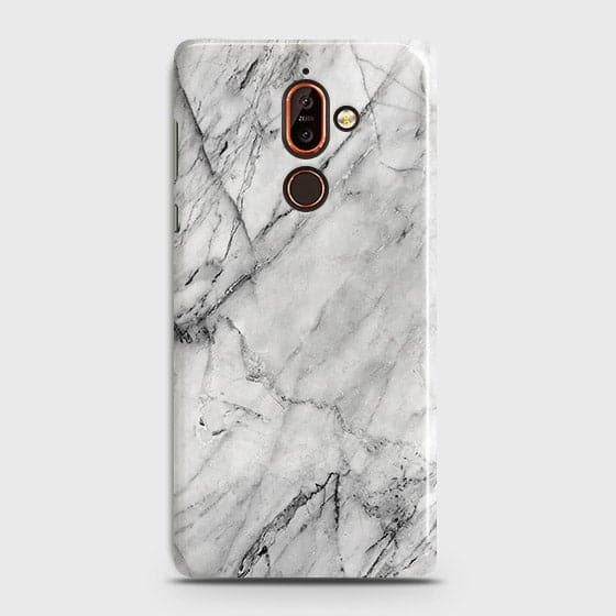 Trendy White Marble Case For Nokia 7 Plus