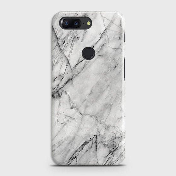 OnePlus 5T - Trendy White Marble Printed Hard Case