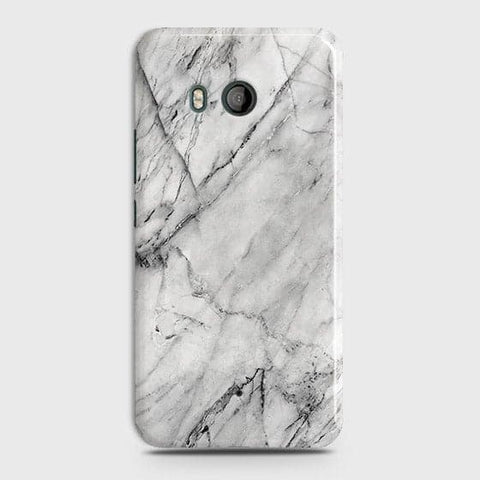 HTC U11 - Trendy White Marble Printed Hard Case With Life Time Colors Guarantee