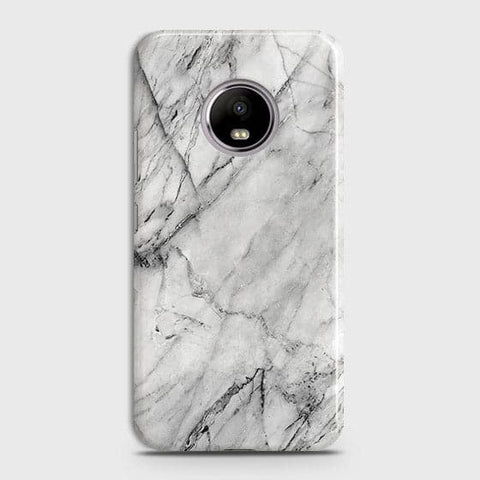Motorola E4 Plus - Trendy White Marble Printed Hard Case With Life Time Colors Guarantee
