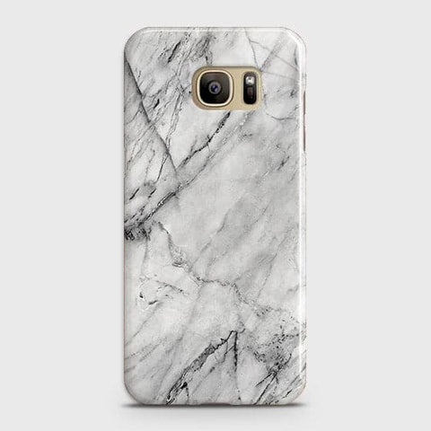 Samsung Galaxy S7 - Trendy White Marble Printed Hard Case