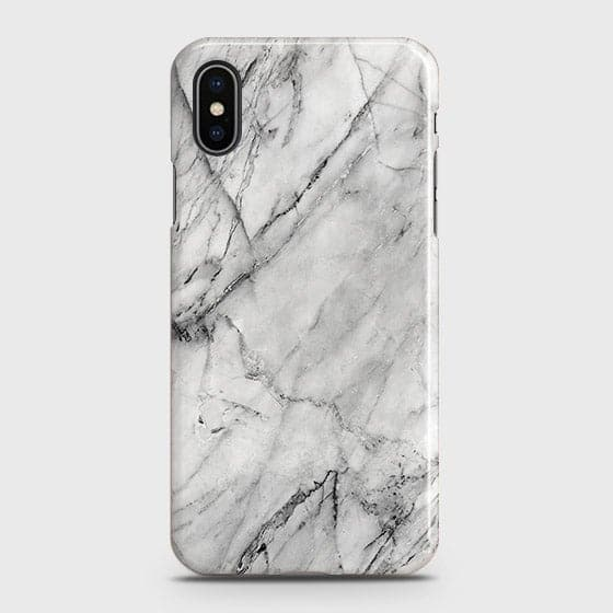 iPhone XS - Trendy White Marble Printed Hard Case With Life Time Colors Guarantee