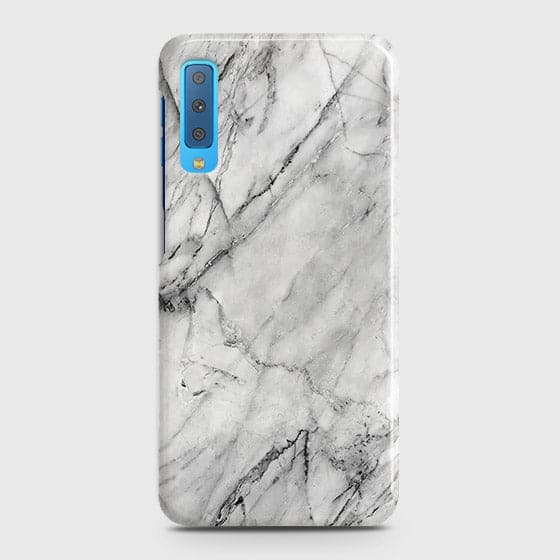 Samsung A7 2018 - Trendy White Marble Printed Hard Case
