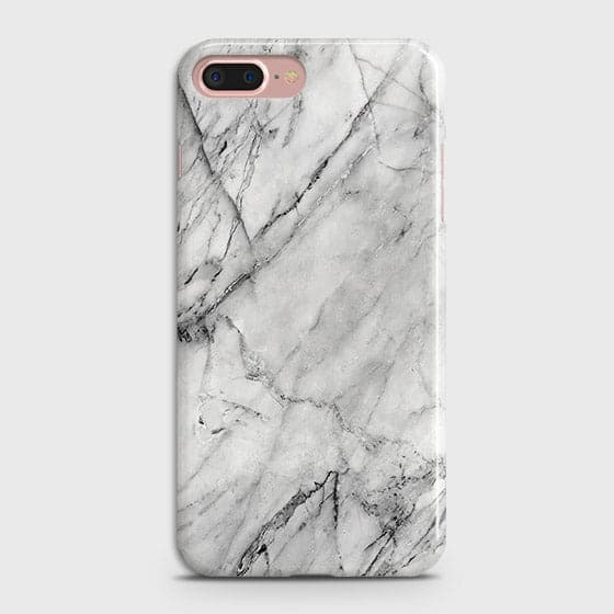 iPhone 7 Plus & iPhone 8 Plus - Trendy White Marble Printed Hard Case