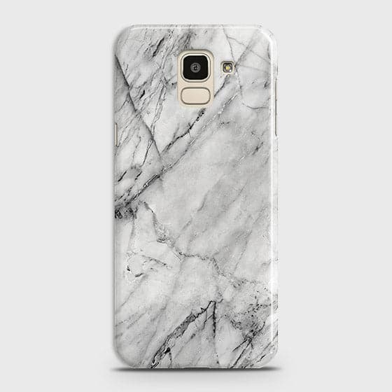 Samsung J6 2018 - Trendy White Marble Printed Hard Case With Life Time Colors Guarantee