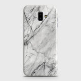 Samsung J6 Plus 2018 - Trendy White Marble Printed Hard Case With Life Time Colors Guarantee