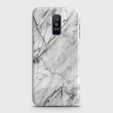 Samsung A6 Plus 2018 - Trendy White Marble Printed Hard Case With Life Time Colors Guarantee