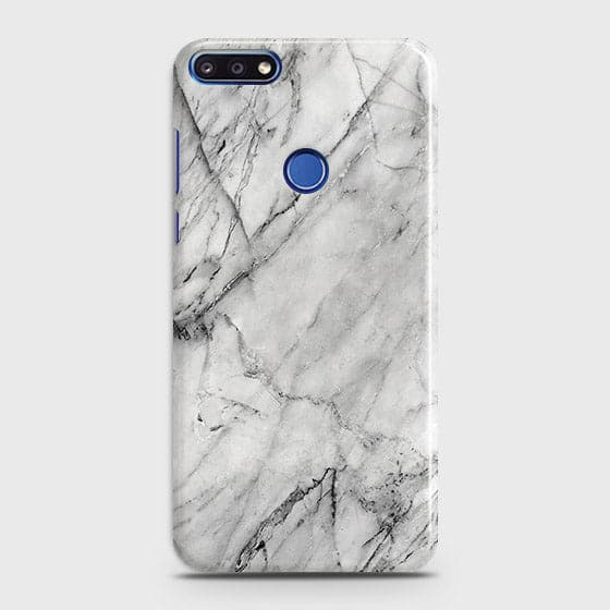 Huawei Y7 Prime 2018 - Trendy White Marble Printed Hard Case With Life Time Colors Guarantee
