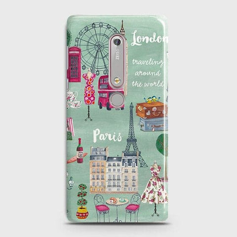 Nokia 6.1 Cover - London, Paris, New York Modern Printed Hard Case With Life Time Colors Guarantee